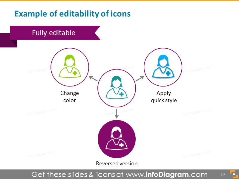 Healthcare medical icons blue green negative editable powerpoint clipart