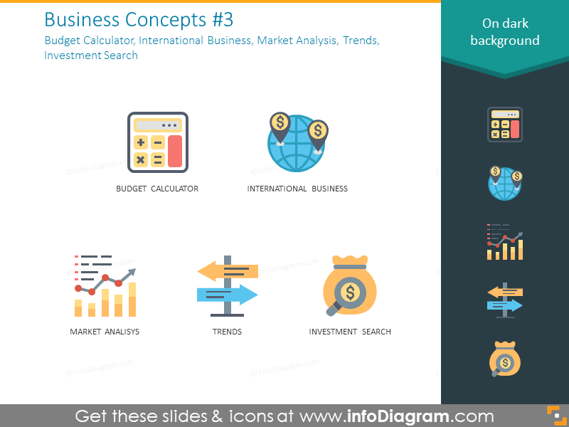 Business icons: calculator, trends, investment search, market analytics