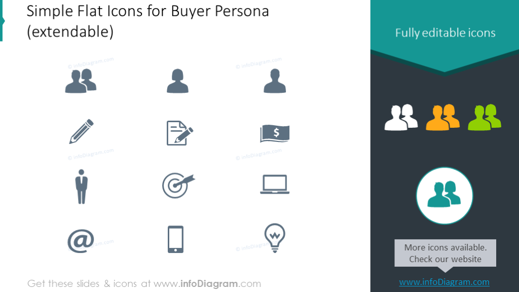 Example of the flat icons intended to illustrate buyer persona