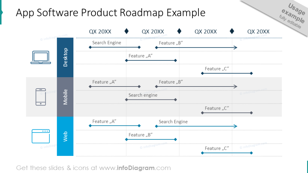 App software product roadmap illustrated with modern arrows