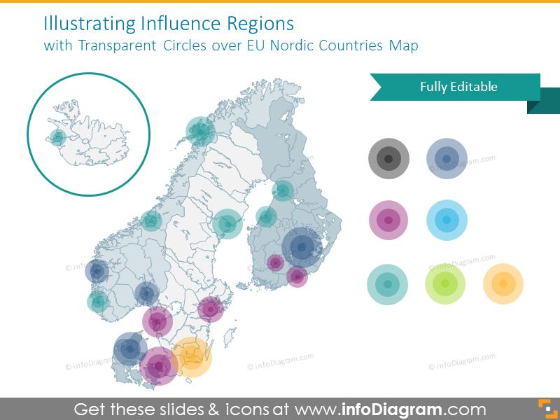 Influence EU Nordic countries map with transparent circles