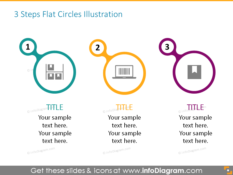 3 steps flat circles list with icons and place for description, ideal for statistics presenting