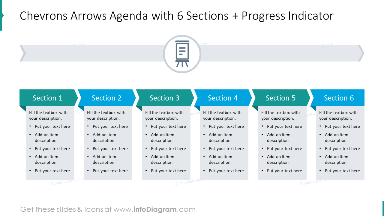 Chevrons arrows agenda with 6 sections