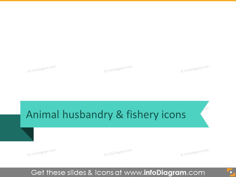 Animal husbandry and fishery icons