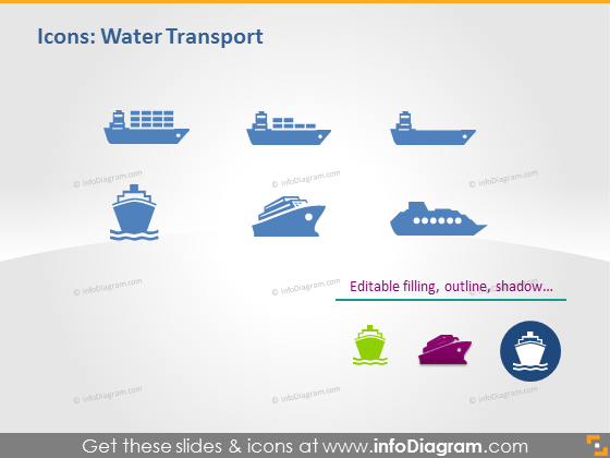 Water transport ppt pictograms shipping freight boat