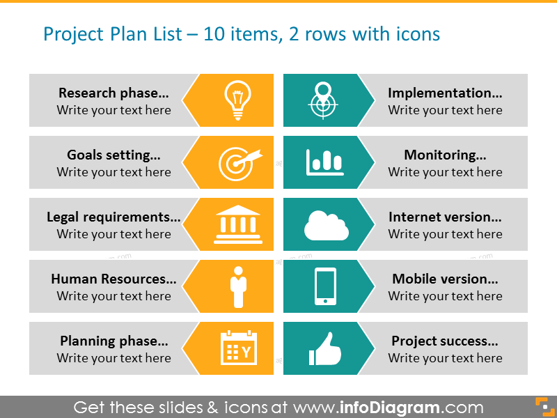 Arrow Diagram Example for Project plan with icons - project phases in 2 columns