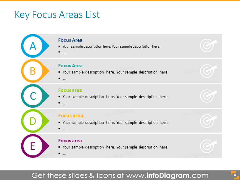 Key focus areas colorful list