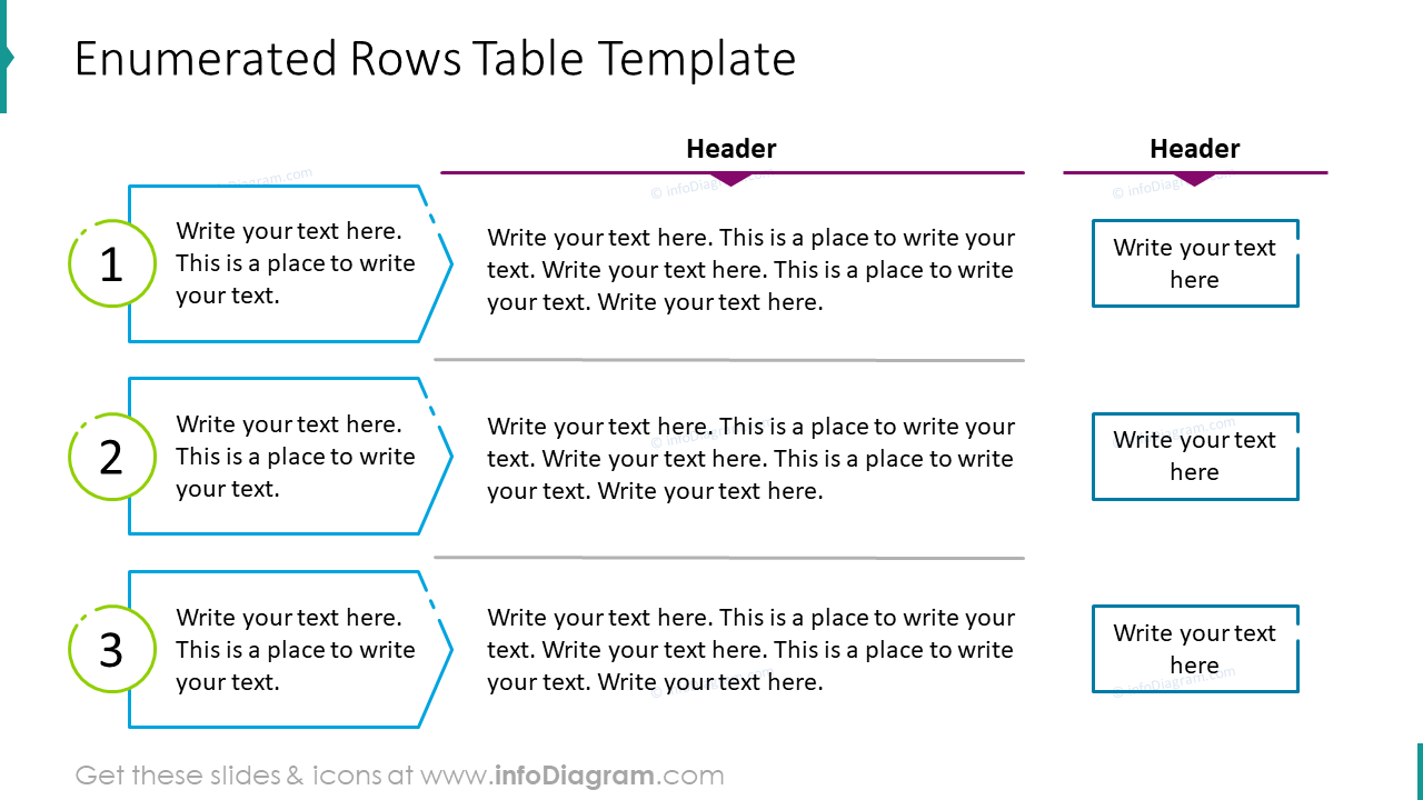 Enumerated rows table template