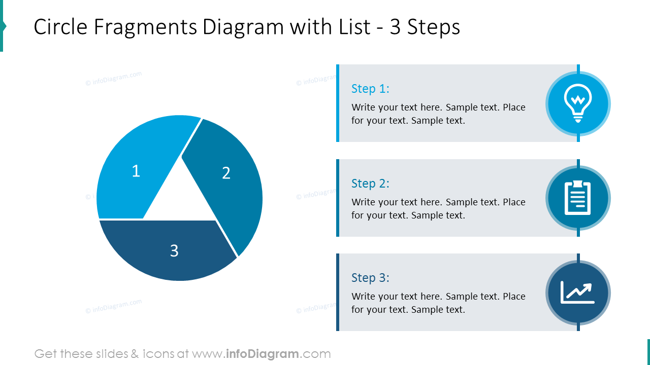 Circle fragments diagram drawing list of 3 steps