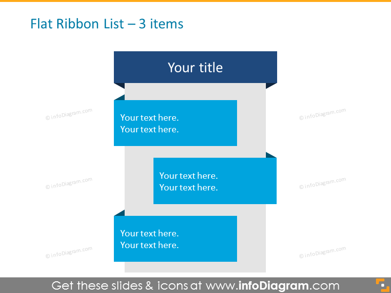 Flat Ribbon List for placing 3 items