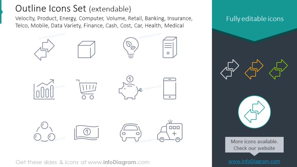 Icons set: velocity, product, energy, computer, volume, retail, banking