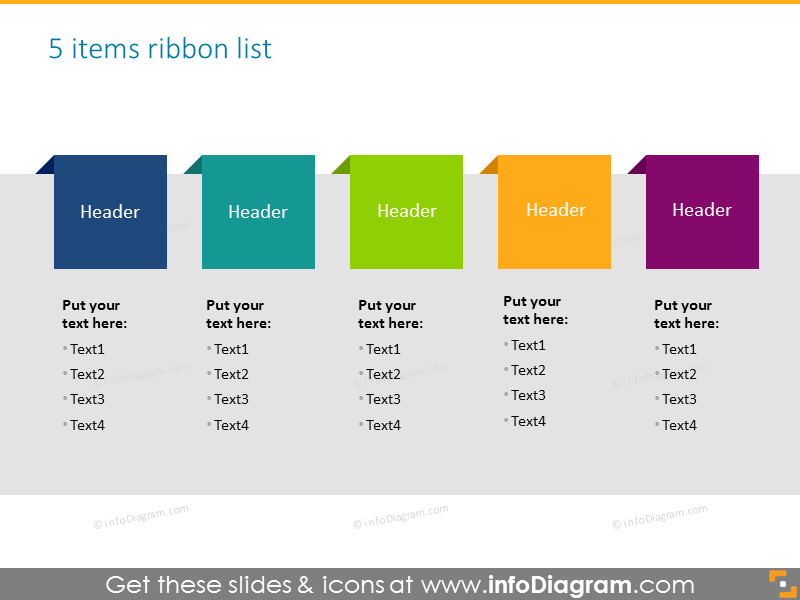 Ribbon list for 5 elements with place for description