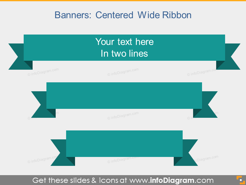 Centered Wide Ribbon Banners Flat PowerPoint Title