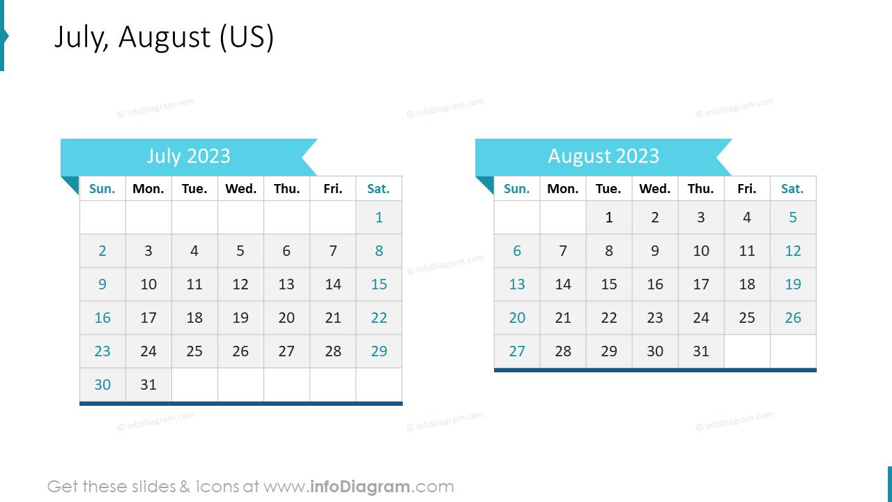 July August 2022 US Calendar