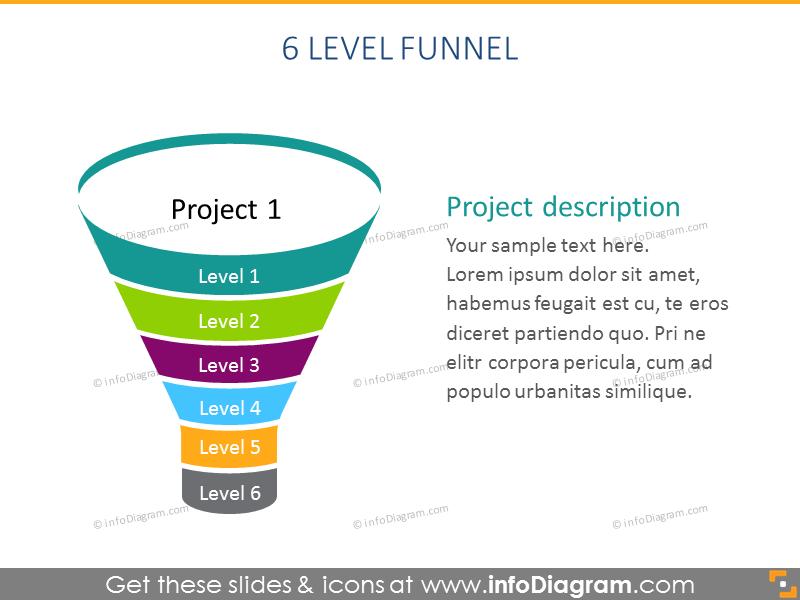 6 level funnel Infographics Diagram Pipeline