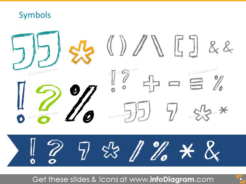 Pencil handdrawn general symbols
