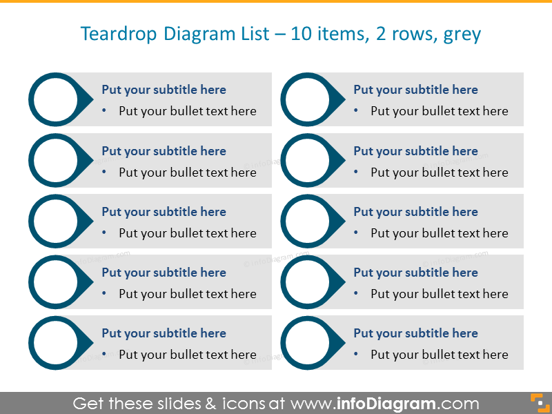 Infographic List Example for placing 10 activities in 2 rows in grey color