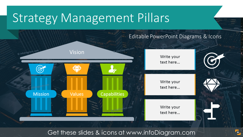 Strategy Management Pillars Graphic (PPT Template)