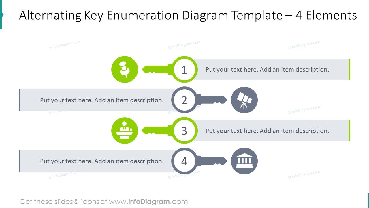 Alternating key enumeration diagram with flat icons