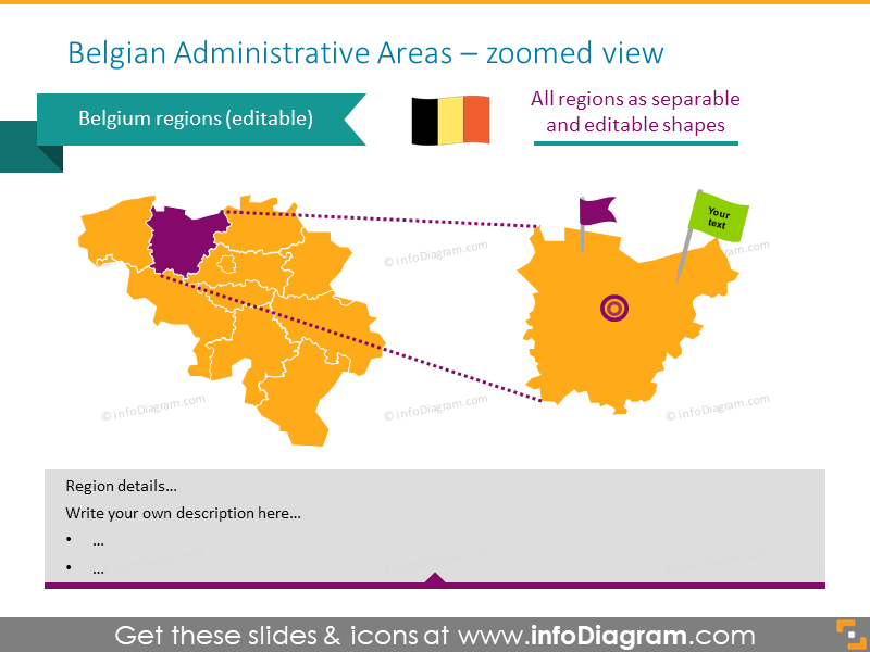 Belgian administrative zoomed map