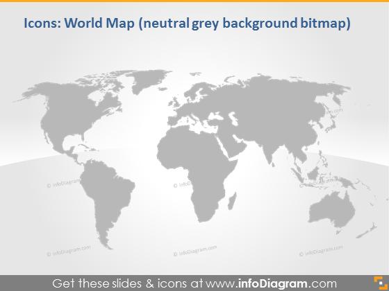 grey natural world map infographics clip art pptx