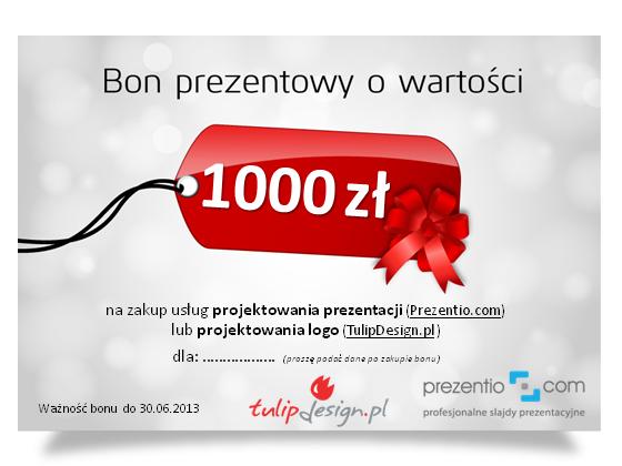 Bon prezentowy 1000 zł na usługi projektowania slajdów i logo
