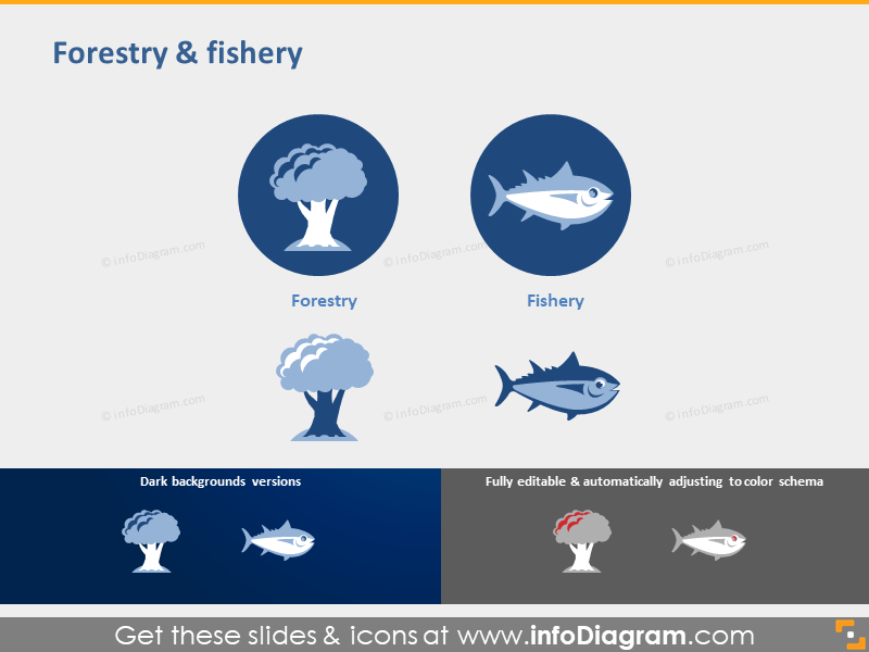 Forestry fishery industry symbol powerpoint icon