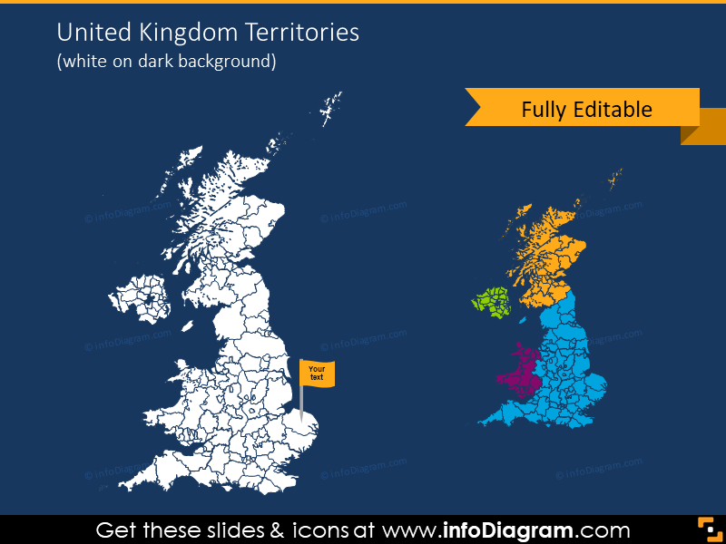 United Kingdom map on dark background