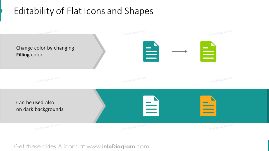 Example of flat icons and shapes