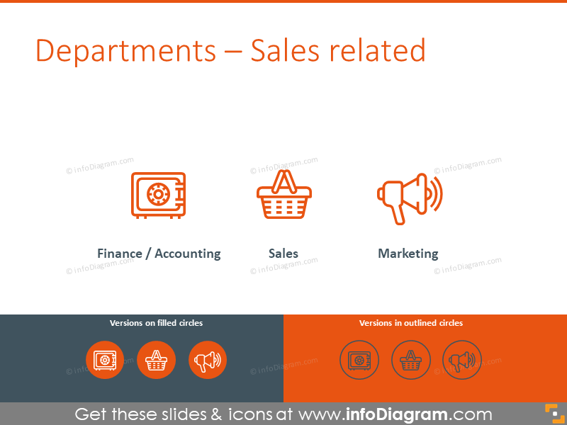 Sales related icons: finance, sales, marketing