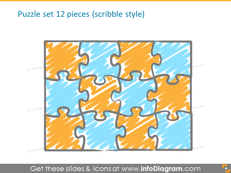 12 pieces scribble puzzle