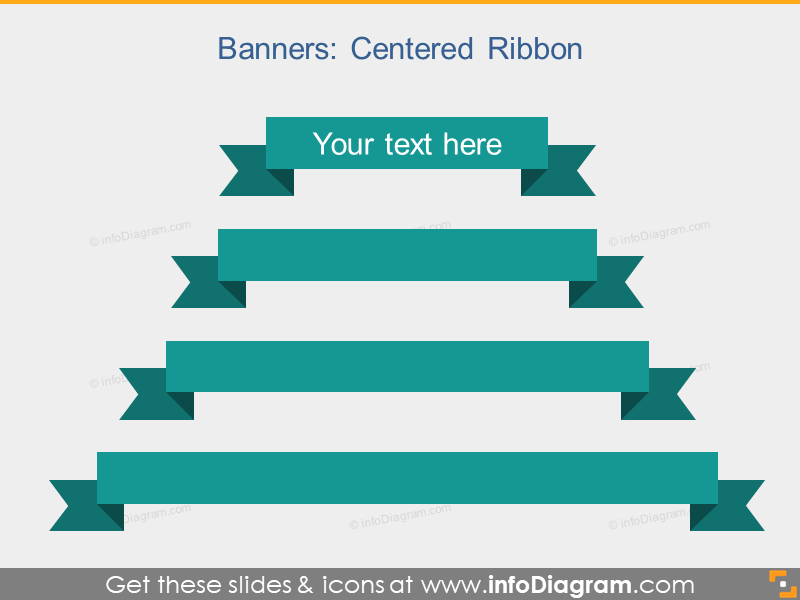 Centered Ribbon Banners Flat Infographics Titles PPT