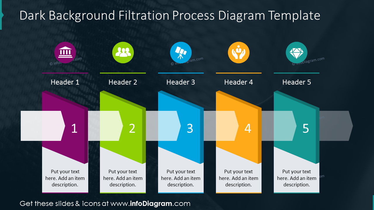 Filtration process diagram template on dark background