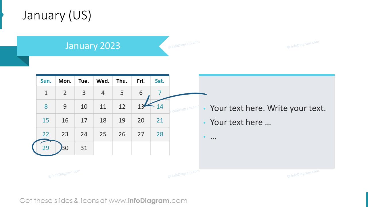 January 2022 US Calendars