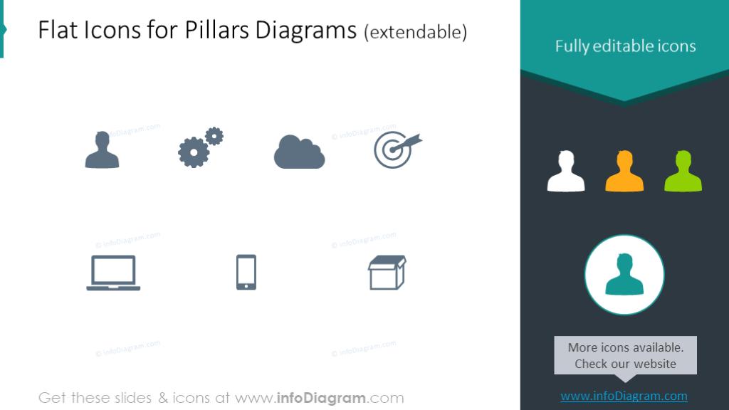 Flat icons for pillars diagrams