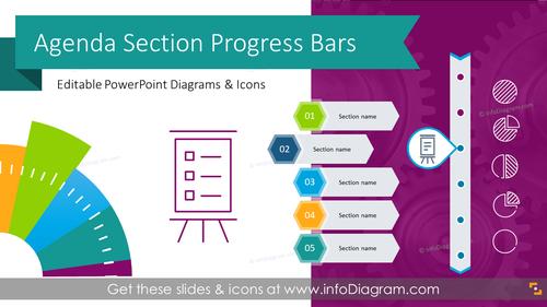 Agenda Section Indicator Flat Progress Bars (PPT Template)