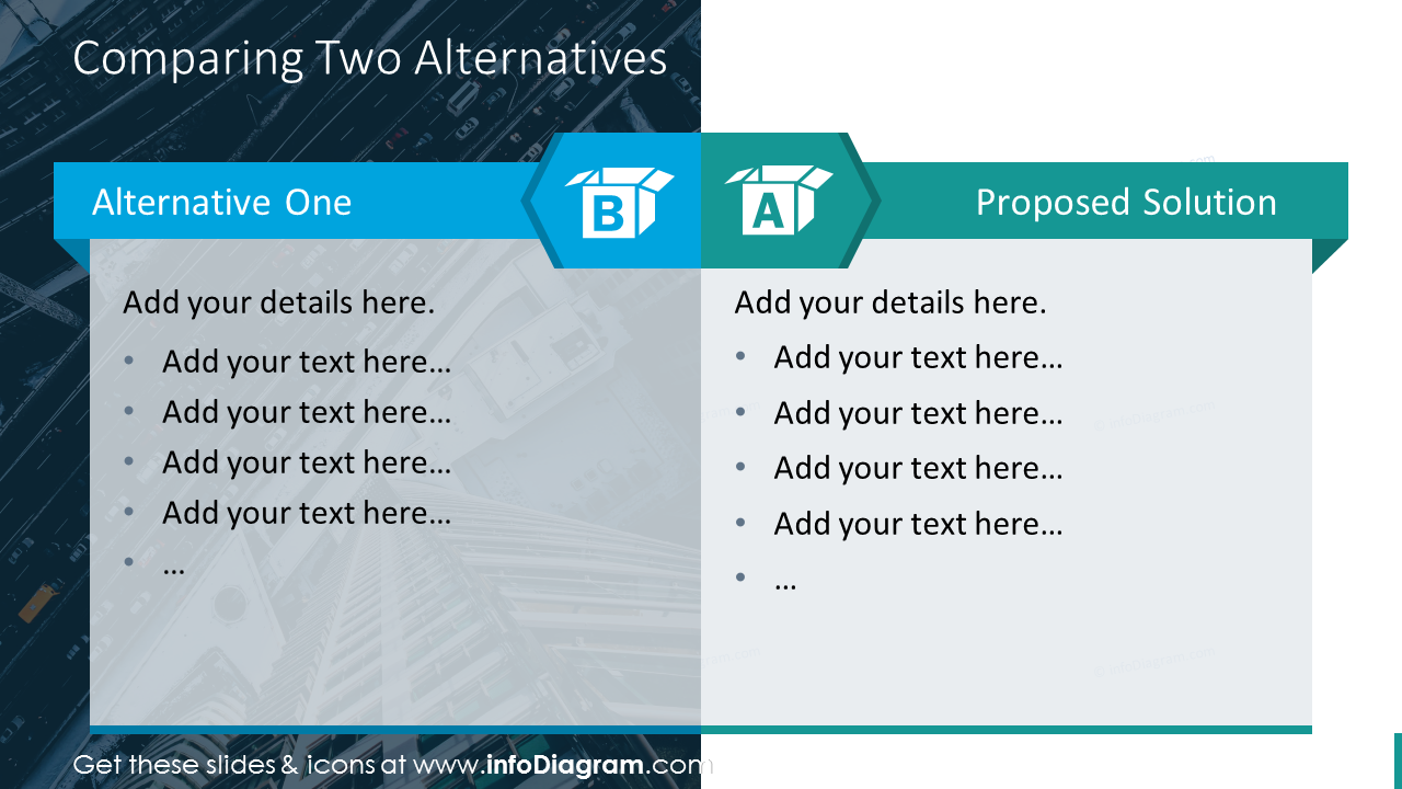 Alternatives comparison diagram with icons and pictures