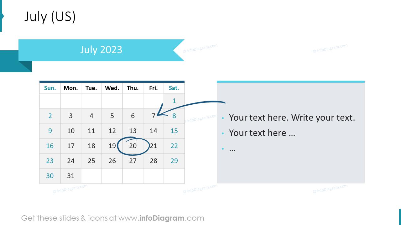 July 2022 US Calendars