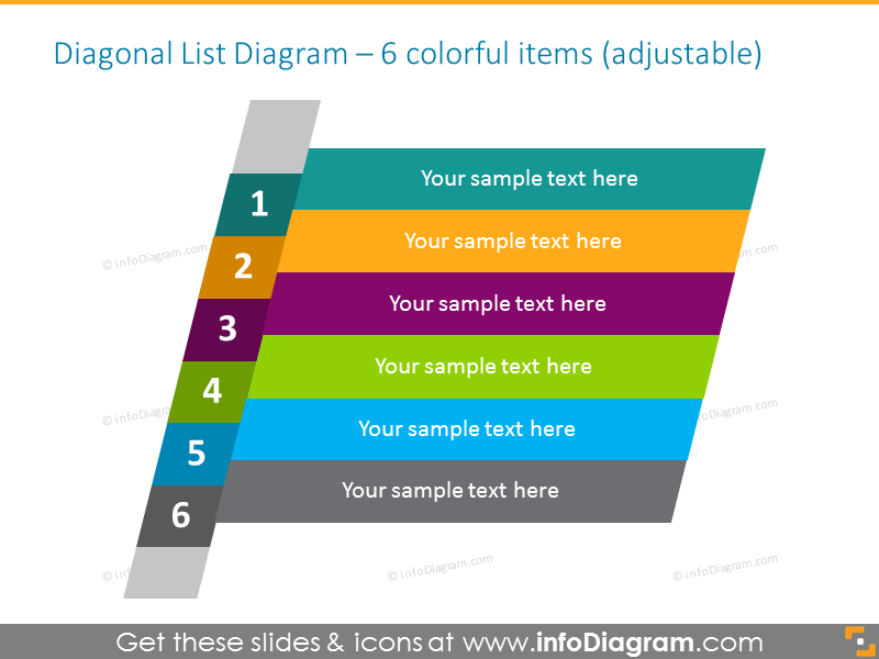 Diagonal 3D list diagram for 6 items