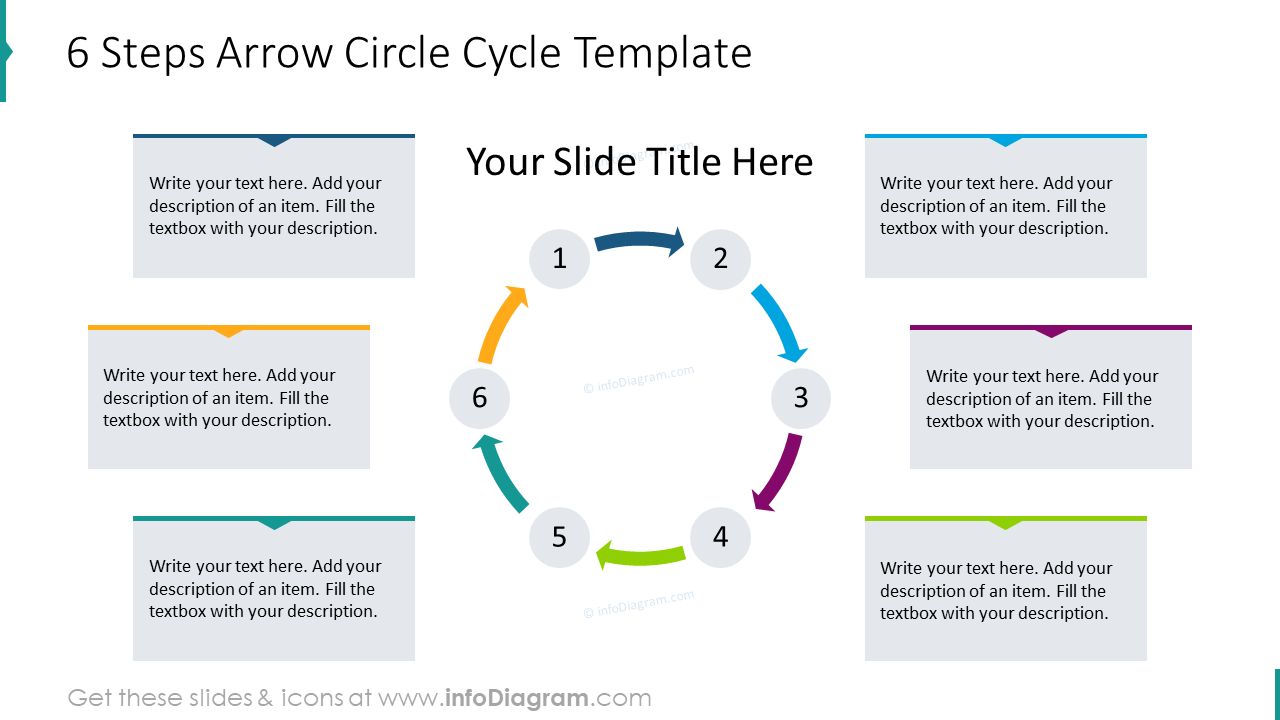 6 steps arrow circle cycle template
