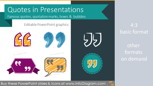 Quotes in Presentations - creative quotation marks, boxes, bubbles (PPT template)