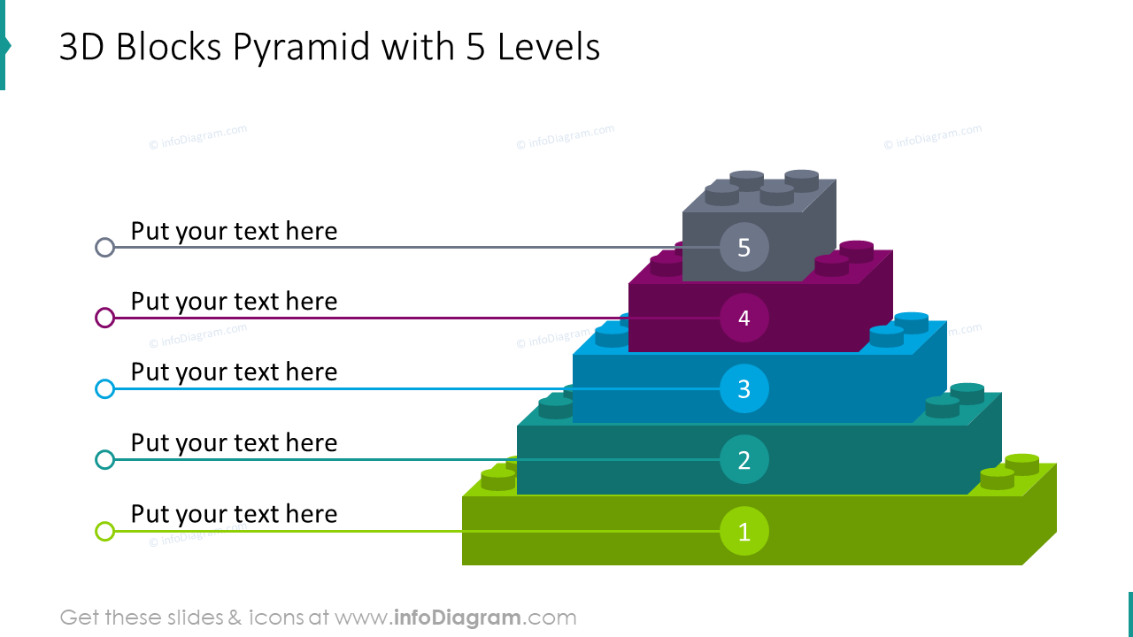 3D blocks pyramid with 5 levels