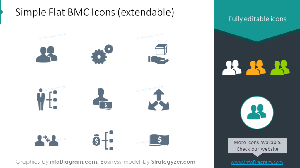 Example of the flat icons