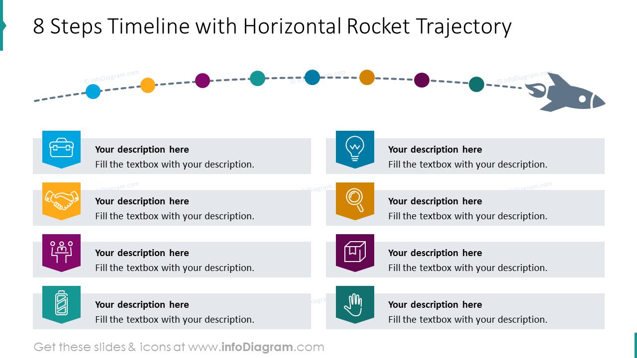 8 steps timeline with horizontal rocket trajectory
