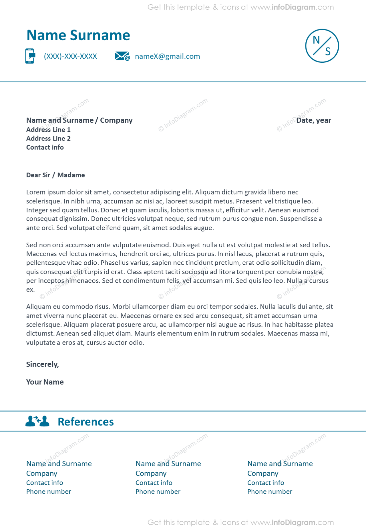 Light lines cover and references letter template