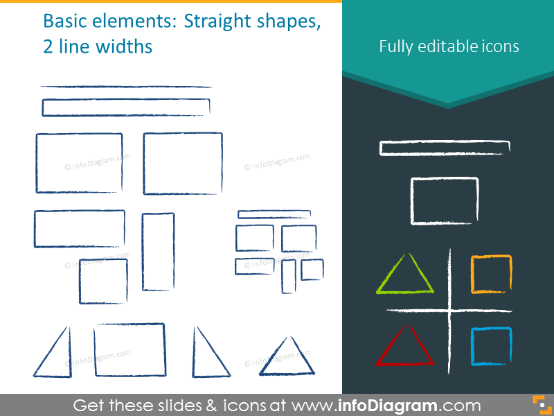 Straight shapes and 2 line widths charcoal icons