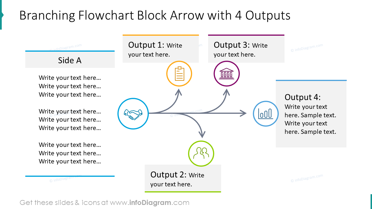 Branching flowchart block arrow with four outputs