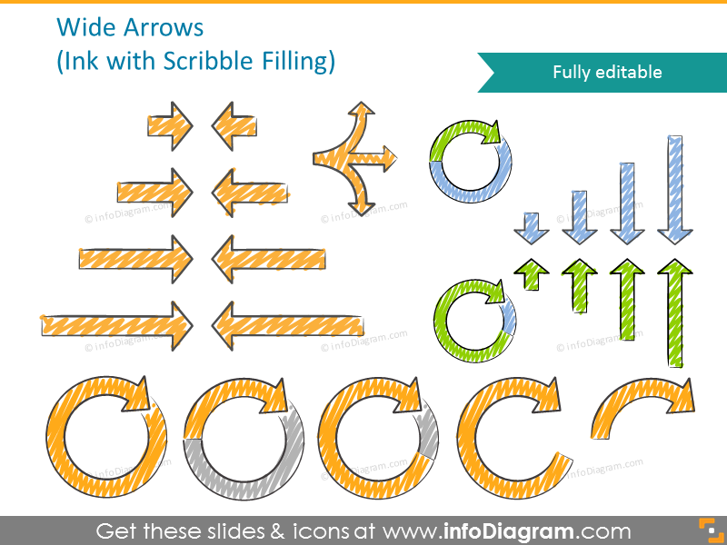 Wide ink arrows with scribble filling
