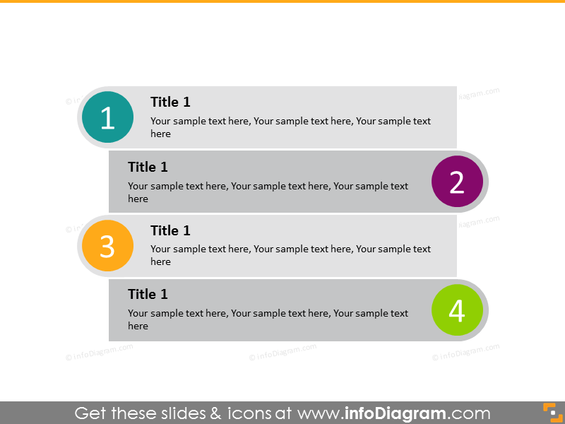 Vertical diagram list 4 steps - circles