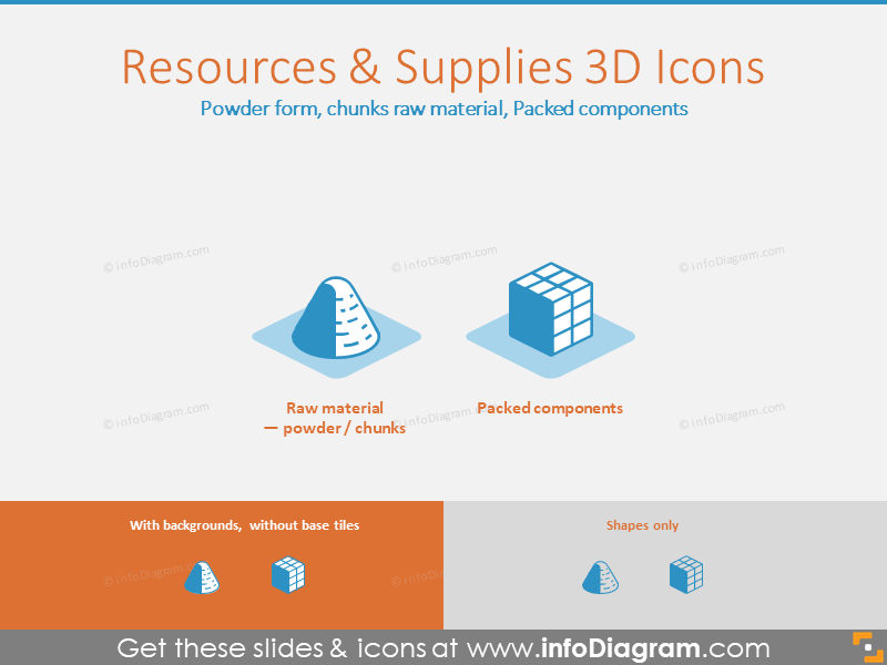 Resources 3D Icons: Powder form, chunks raw material, Packed components